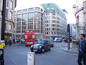 King William Street, London - Monument junction, where King William Street and Gracechurch Street converge.