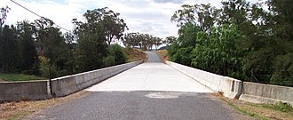 Bylong Valley Way - Kirk's Bridge at Baerami after new concrete sections were completed, November 2007