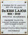 Kiss Lajos plaque (Budapest-11 Kemenes u 6).jpg