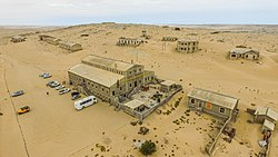 An aerial view of Kolmanskop.