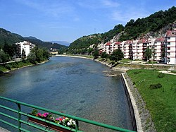 Konjic, view of Neretva from the bridge