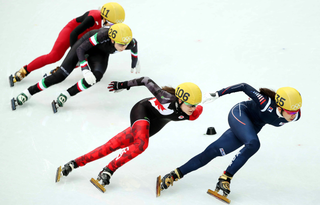 Short track speed skating winter sport, in which skaters skate on an oval ice track with a length of 111.12 m