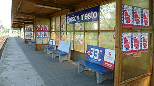 Kosovo je Srbija - Posters supporting Kosovo as a part of Serbia at the Prešov Down-town Railway Stop in Slovakia
