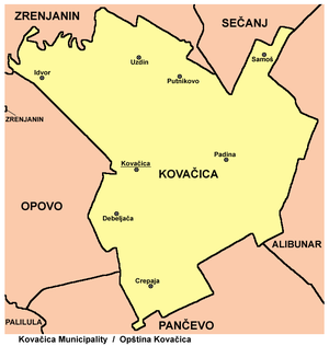 Kovačica - Map of Kovačica municipality