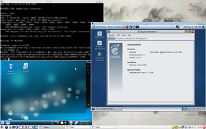 Screenshot of QEMU/KVM running NetBSD, OpenSolaris and Kubuntu guests on an Arch Linux host.