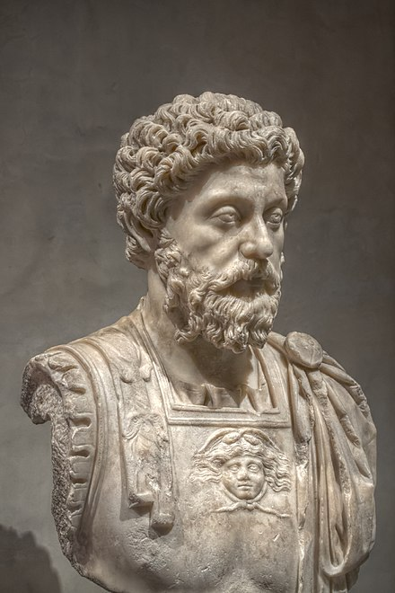 Marcus Aurelius, the Stoic Roman emperor who created the first endowed chair professorships L'Image et le Pouvoir - Buste cuirasse de Marc Aurele age - 3.jpg