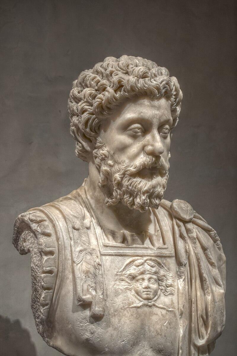 Marble bust of Marcus Aurelius.