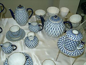 Imperial Porcelain Factory - Cobalt net, the trademark style of the Imperial Porcelain Factory.