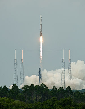 Lunar Precursor Robotic Program - The Atlas V-Centaur rocket carrying the LRO and LCROSS just after take off.