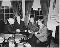 L to R, President Truman, George Marshall, Paul Hoffman, and Averell Harriman, in the oval office discussing the... - NARA - 200036.tif