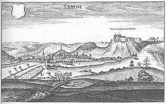 Lahn - The Upper Lahn Valley at Bad Laasphe from the Topographia Hassiae of Matthäus Merian, 1655