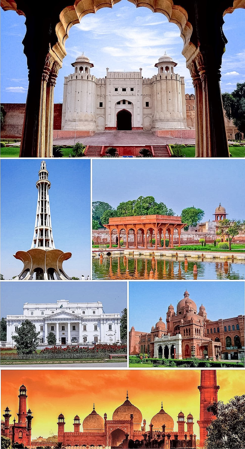 Clockwise from the top: Lahore Fort, Shalimar Gardens, Lahore Museum, Badshahi Mosque, Quaid-e-Azam Library, Minar-e-Pakistan.