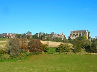 Tom Driberg - Lancing College; the tall building to the right is the Gothic chapel.