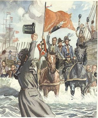 Landing of the future king William I at Scheveningen on 30 November 1813 by Johan Willem Heyting (1915-1995). LandingWillemI.jpg
