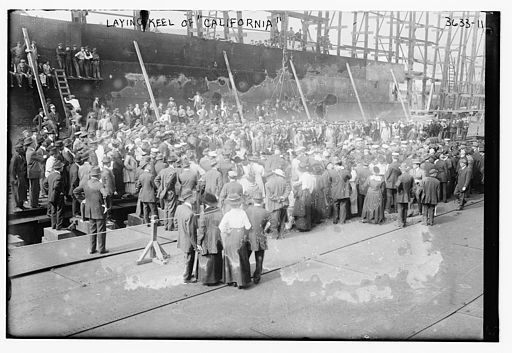 Laying the keel of the USS California (BB-44) on October 25, 1916