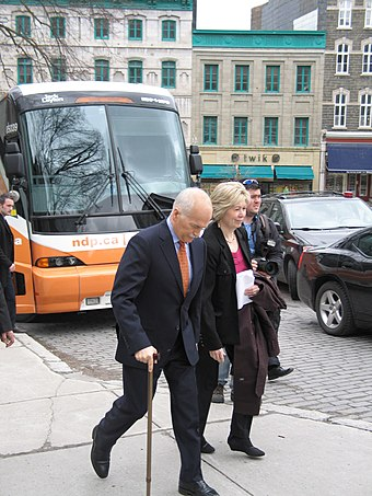 Layton with his chief of staff, Anne McGrath, campaigning in Quebec City Layton Quebec 18042011-1.jpg