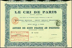 Le Cri de Paris - Share of the Le Cri de Paris SA, issued 1. May 1913
