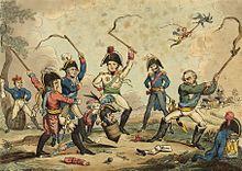 Napoleon Bonaparte als Spielkreisel der Kriegsgegner (Karikatur 1814) (Quelle: Wikimedia)