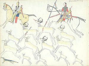 Kiowa - Ledger drawing of mounted Kiowa hunters hunting pronghorn antelope with bows and lance.