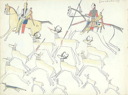 Ledger drawing of mounted Kiowa hunters hunting pronghorn antelope with bows and lance. - Kiowa