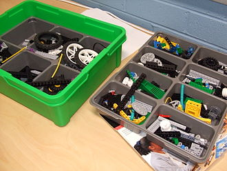FIRST Lego League - Participants build robots with kits such as these.