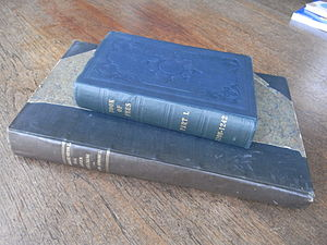 Book of Fees - Two modern transcript editions of the Testa de Nevill/Liber Feodorum/Book of Fees, the 1920 edition (vol 1 of 3) atop the 1807 folio edition