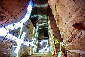Urban exploration -  Light painting inside an abandoned limestone quarry in France.