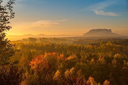 Autum-Sunrise at the Lilienstein, Saxon Switzerland