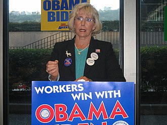 Lilly Ledbetter - Ledbetter promoting Barack Obama for working class families in Pennsylvania for his presidential campaign in 2008.