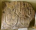 "Limestone fragment showing 2 cartouches bearing the throne-name (left) and birth-name and the epithet ""god's father Ay the god the ruler of Thebes"" (right) of Ay. From Egypt. 18th Dynasty. Petrie Museum of Egyptian Archaeology.jpg"