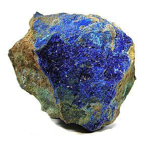 Linarite - Image: Linarite Caledonite 53689