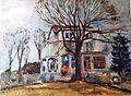 Linkebeek, Les Roches villa Lismonde huile par LEON VAN DIEVOET (1959).jpg