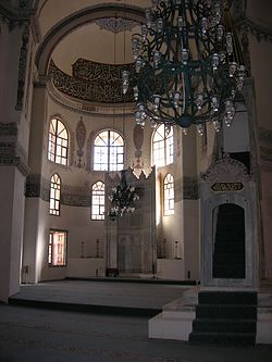 The Apse of the former Church with the Mihrab. The Minbar is seen in the foreground