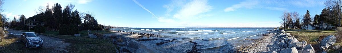 View of Little Traverse Bay, MI from near Bahnhof Sports, Petoskey, MI
