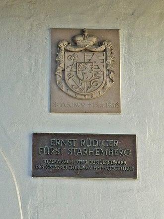 Ernst Rüdiger Starhemberg - Memorial plaque in Schruns