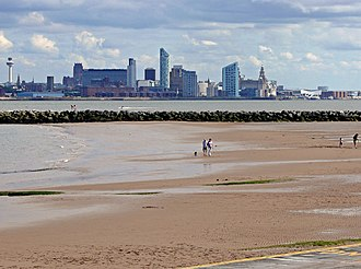 The Plaza, Liverpool - Image: Liverpool skyline from New Brighton by Bob Abell