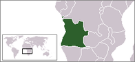 A map showing the location of Angola