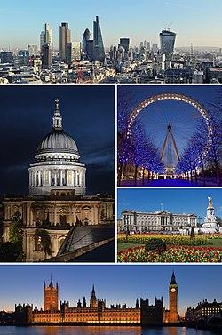 伦敦意象:从上方顺时针依序为 伦敦市中心天际线 、伦敦眼、白金汉宫、威斯宫、圣保罗大教堂