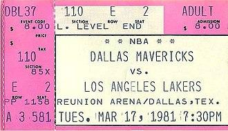 1980–81 Los Angeles Lakers season - A ticket for a March 1981 game between the Los Angeles Lakers and the Dallas Mavericks.