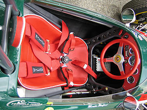 Five-point harness - A 5-point harness in a racing car.