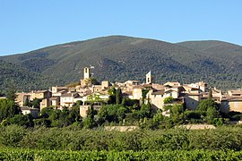View of Lourmarin with vineyards and orchards