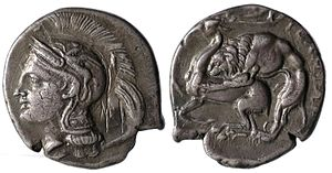 Velia - Silver coin from Velia, circa 280 BC, with Athena on the obverse, and a lion devouring a stag on the reverse.