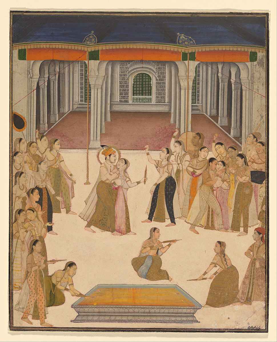 Lucknow, Uttar Pradesh, India - The emperor Jahangir celebrating the Festival of Holi with the ladies of the zenana - Google Art Project