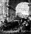 Ludvig Abelin Schou - Romerske Arbeidsfolk transportere en antik Keiserstatue fra Colossæum, igjennem Titusbuen til Musæerne i Capitol - tegnet af Otto Bache.png