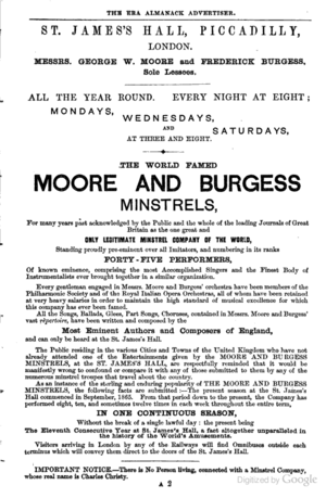 St James's Hall - 1874 Advertisement