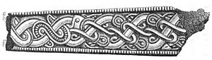 Black and white drawing of an iron fragment from the grave at Broe