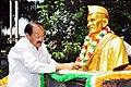 M. Venkaiah Naidu garlanding the statue of Pingali Venkayya (Freedom fighter and the designer of the flag on which the Indian national flag was based), at Pingali Venkayya AIR Station, in Vijayawada.jpg