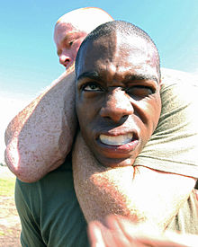 Marines demonstrate the rear naked choke.