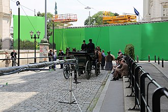 Special effect - A period drama set in Vienna uses a green screen as a backdrop, to allow a background to be added during post-production.