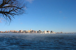 English: The Madison, Wisconsin skyline, seen ...